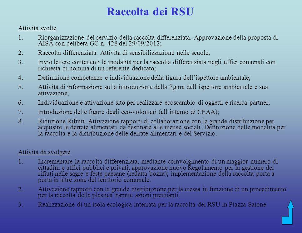 Raccolta dei RSU Attività svolte
