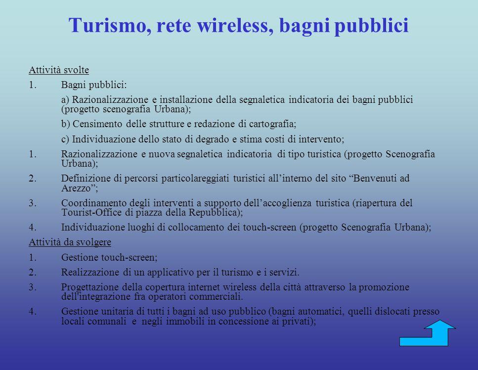 Turismo, rete wireless, bagni pubblici
