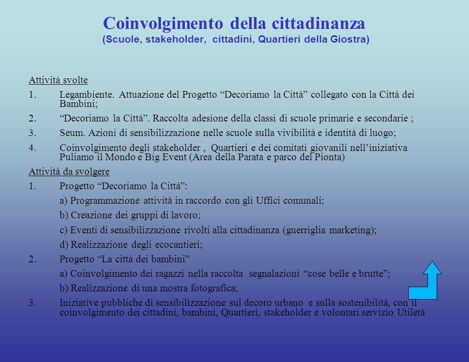 Coinvolgimento della cittadinanza (Scuole, stakeholder, cittadini, Quartieri della Giostra)