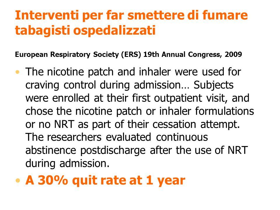 Interventi per far smettere di fumare tabagisti ospedalizzati