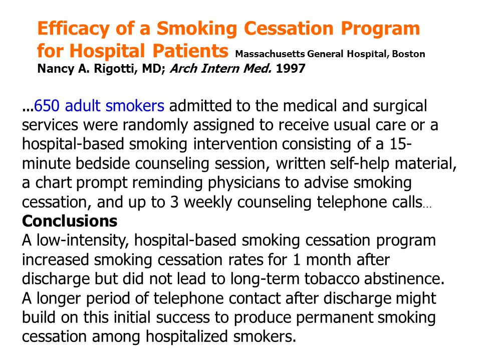 Efficacy of a Smoking Cessation Program for Hospital Patients Massachusetts General Hospital, Boston