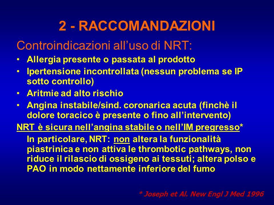 2 - RACCOMANDAZIONI Controindicazioni all'uso di NRT: