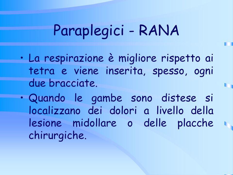 Paraplegici - RANA La respirazione è migliore rispetto ai tetra e viene inserita, spesso, ogni due bracciate.