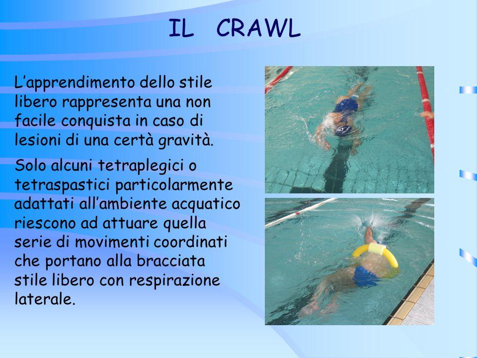IL CRAWL L'apprendimento dello stile libero rappresenta una non facile conquista in caso di lesioni di una certà gravità.