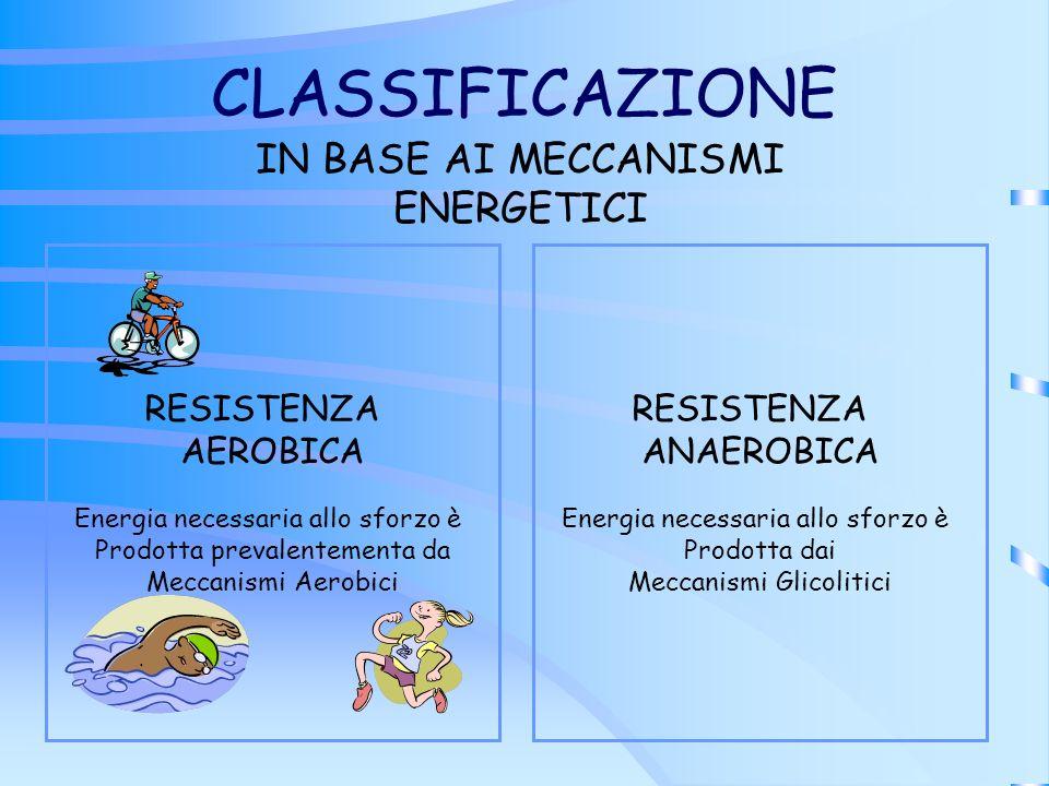 CLASSIFICAZIONE IN BASE AI MECCANISMI ENERGETICI RESISTENZA AEROBICA