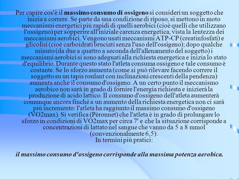 Per capire cos è il massimo consumo di ossigeno si consideri un soggetto che inizia a correre. Se parte da una condizione di riposo, si mettono in moto meccanismi energetici più rapidi di quelli aerobici (cioè quelli che utilizzano l ossigeno) per sopperire all iniziale carenza energetica, vista la lentezza dei meccanismi aerobici. Vengono usati meccanismi ATP-CP (creatinfosfati) e glicolisi (cioè carboidrati bruciati senza l uso dell ossigeno); dopo qualche minuto (da due a quattro a seconda dell allenamento del soggetto) i meccanismi aerobici si sono adeguati alla richiesta energetica e inizia lo stato d equilibrio. Durante questo stato l atleta consuma ossigeno e tale consumo è costante. Se lo sforzo aumenta (come si può rilevare facendo correre il soggetto su un tapis roulant con inclinazioni crescenti della pendenza) aumenta anche il consumo d ossigeno. A un certo punto il meccanismo aerobico non sarà in grado di fornire l energia richiesta e inizierà la produzione di acido lattico. Il consumo d ossigeno dell atleta aumenterà comunque ancora finché a un aumento della richiesta energetica non ci sarà più incremento: l atleta ha raggiunto il massimo consumo d ossigeno (VO2max). Si verifica (Pèronnet) che l atleta è in grado di prolungare lo sforzo in condizioni di VO2max per circa 7 e che la situazione corrisponde a concentrazioni di lattato nel sangue che vanno da 5 a 8 mmol (convenzionalmente 6,5). In termini più pratici: