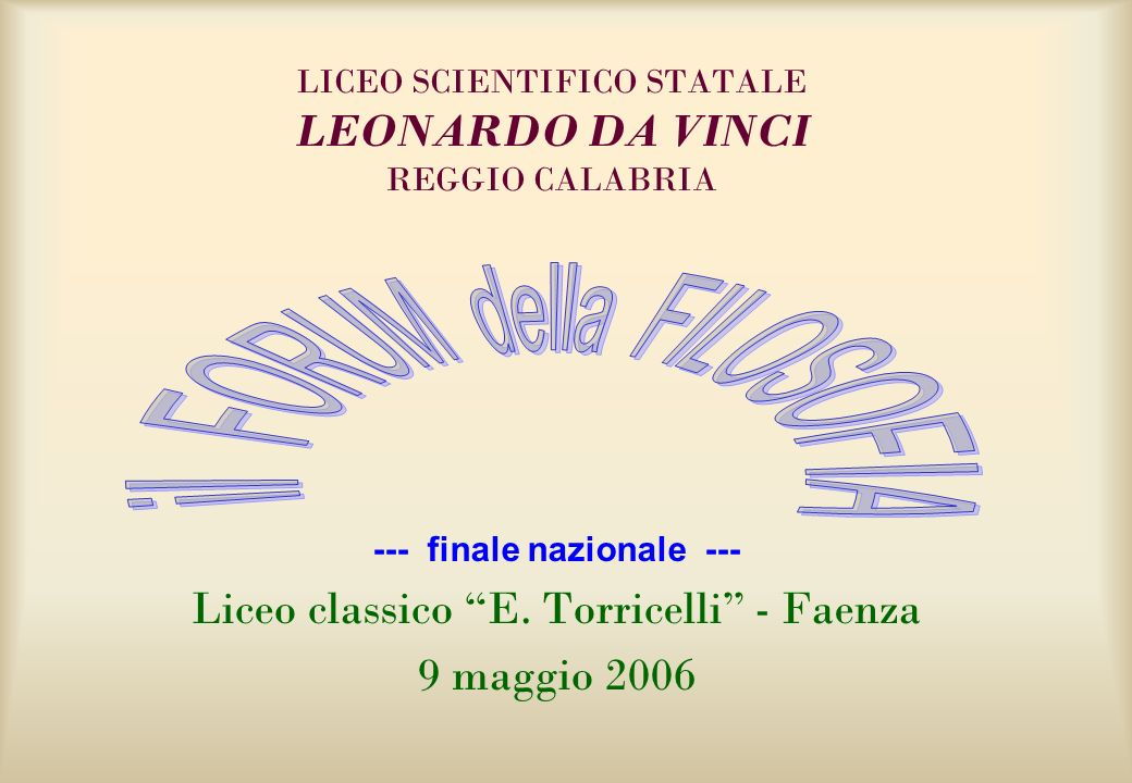 Liceo scientifico statale leonardo da vinci reggio for Liceo scientifico leonardo da vinci vallo della lucania