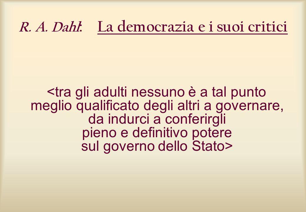 R. A. Dahl: La democrazia e i suoi critici