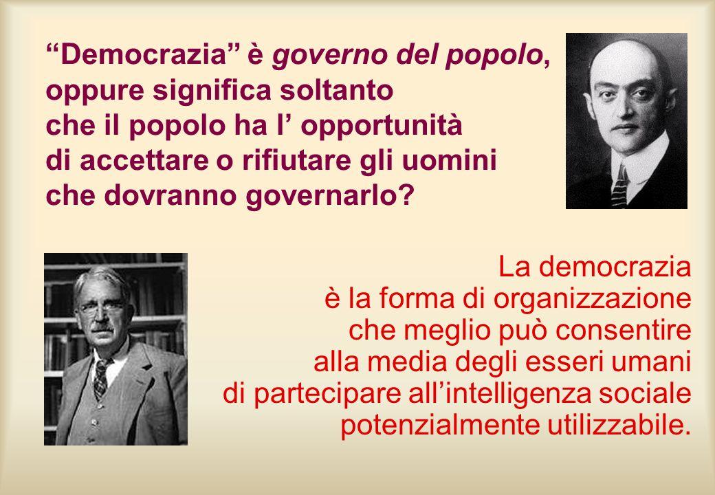 Democrazia è governo del popolo, oppure significa soltanto che il popolo ha l' opportunità di accettare o rifiutare gli uomini che dovranno governarlo