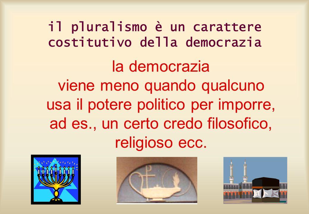 il pluralismo è un carattere costitutivo della democrazia