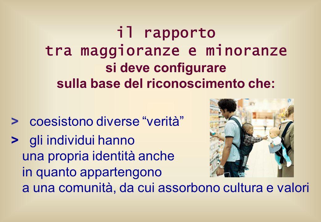 il rapporto tra maggioranze e minoranze si deve configurare sulla base del riconoscimento che: