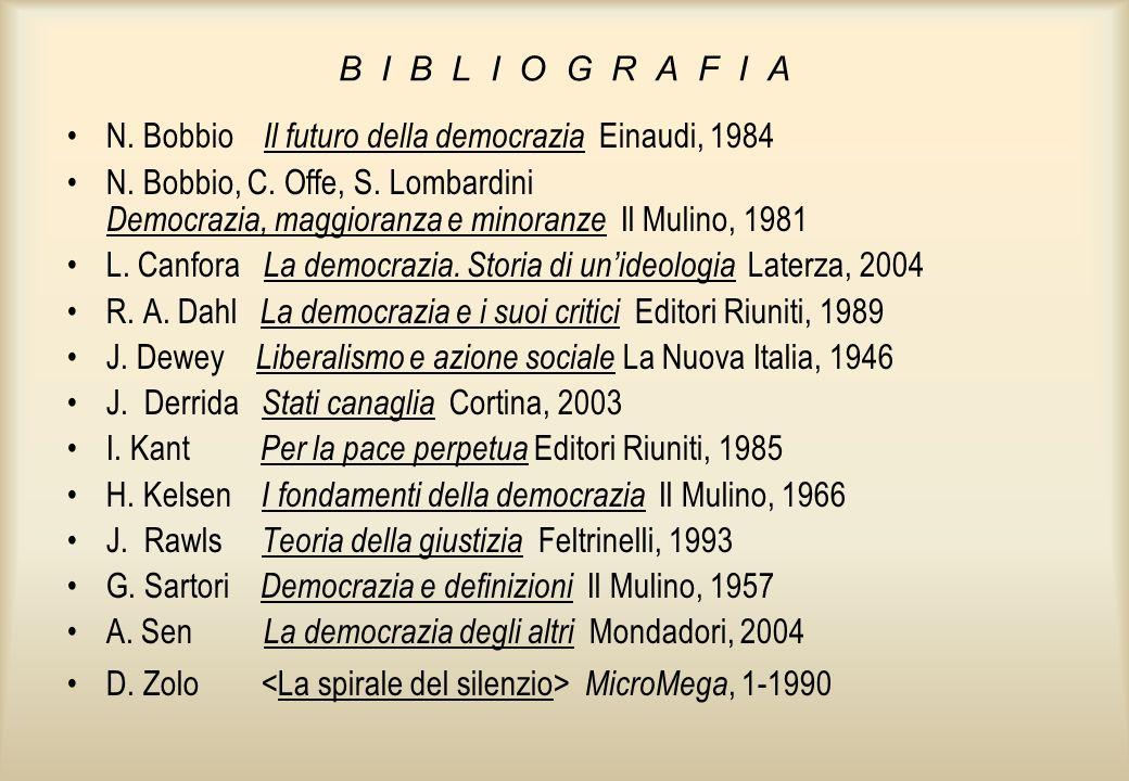 B I B L I O G R A F I A N. Bobbio Il futuro della democrazia Einaudi, 1984.