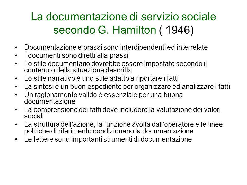 La documentazione di servizio sociale secondo G. Hamilton ( 1946)