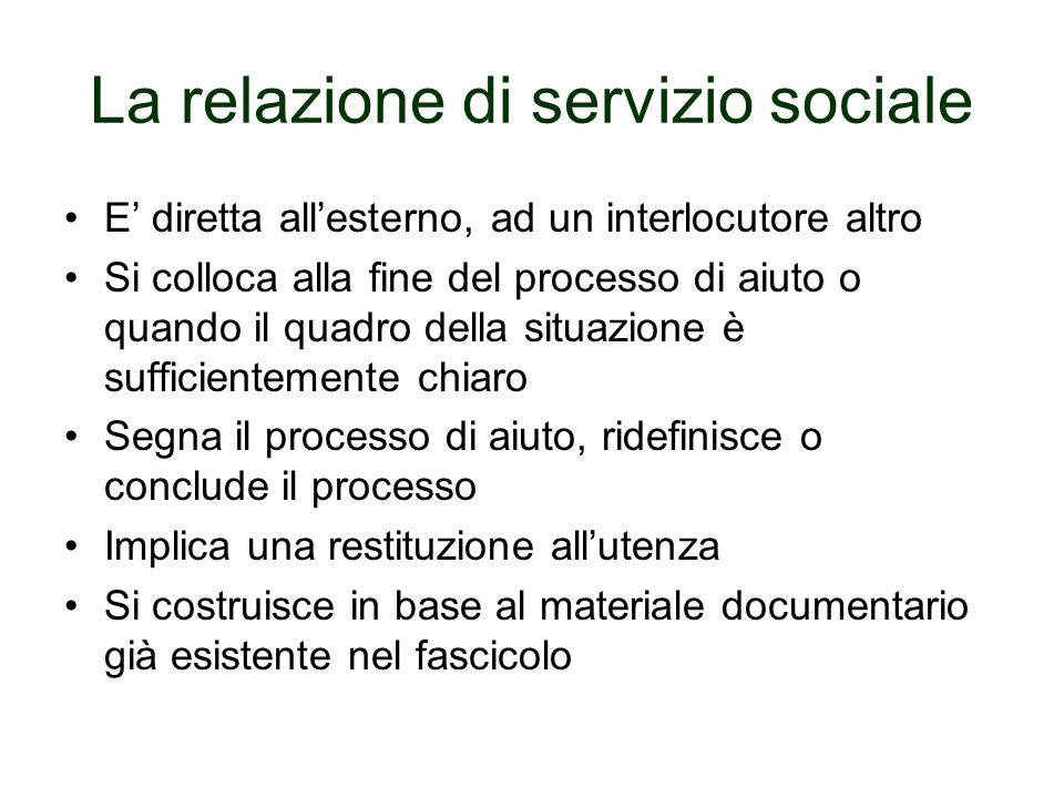 La relazione di servizio sociale