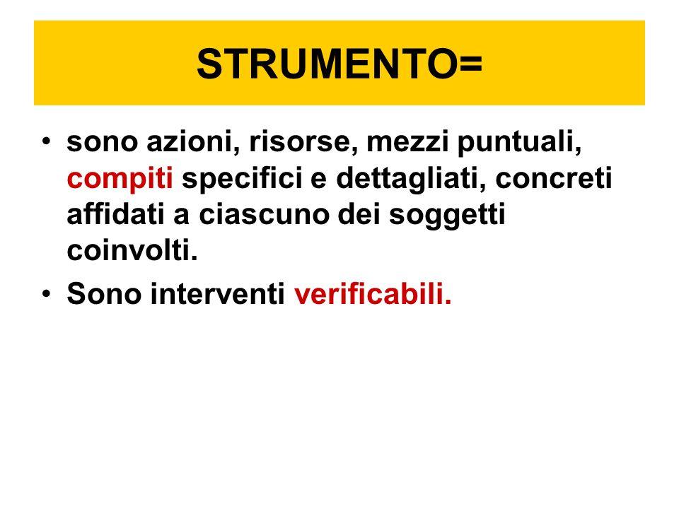 STRUMENTO= sono azioni, risorse, mezzi puntuali, compiti specifici e dettagliati, concreti affidati a ciascuno dei soggetti coinvolti.