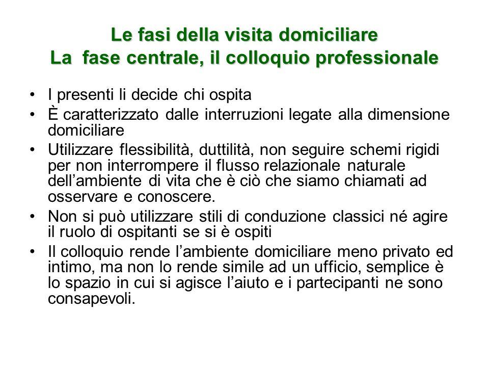 Le fasi della visita domiciliare La fase centrale, il colloquio professionale
