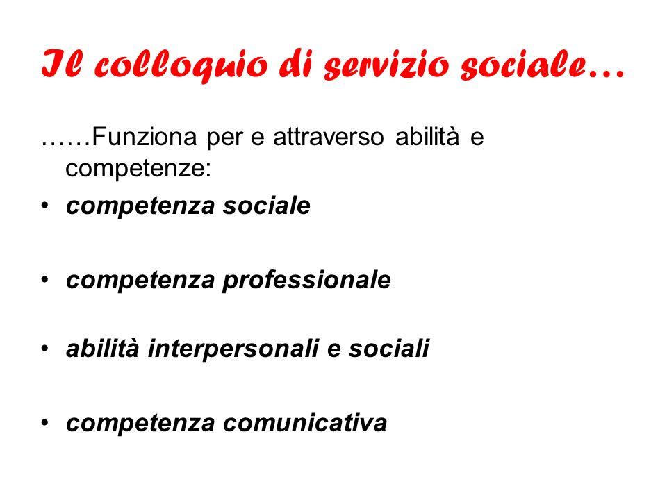 Il colloquio di servizio sociale…