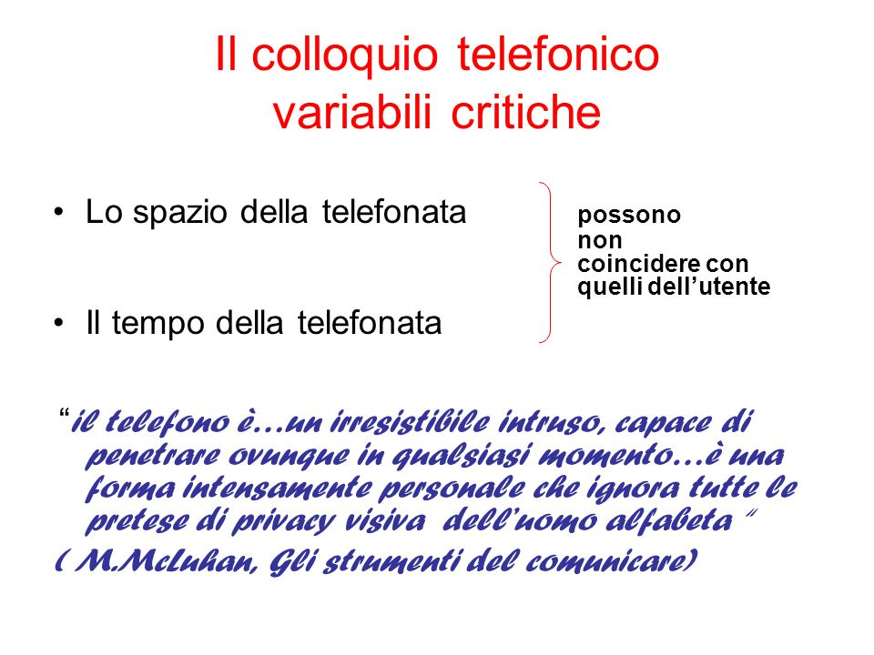 Il colloquio telefonico variabili critiche