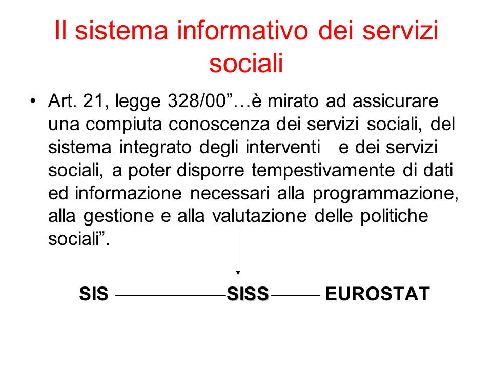 Il sistema informativo dei servizi sociali
