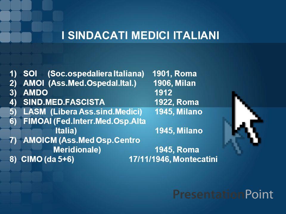 I SINDACATI MEDICI ITALIANI