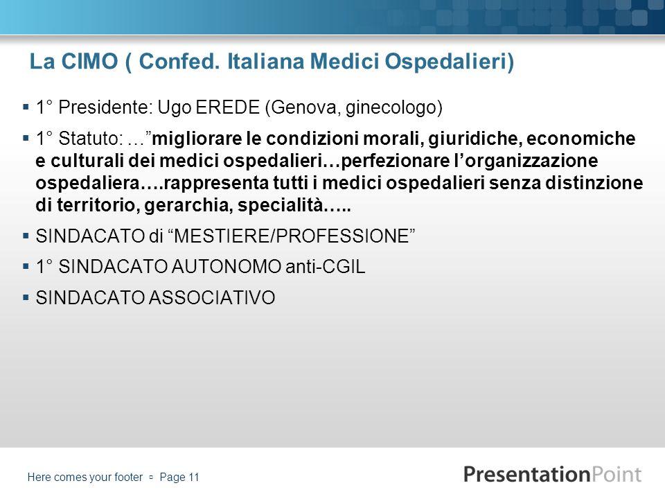 La CIMO ( Confed. Italiana Medici Ospedalieri)