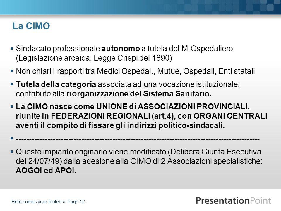 La CIMO Sindacato professionale autonomo a tutela del M.Ospedaliero (Legislazione arcaica, Legge Crispi del 1890)