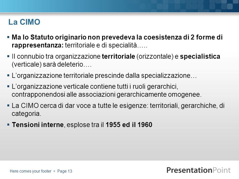La CIMO Ma lo Statuto originario non prevedeva la coesistenza di 2 forme di rappresentanza: territoriale e di specialità…..