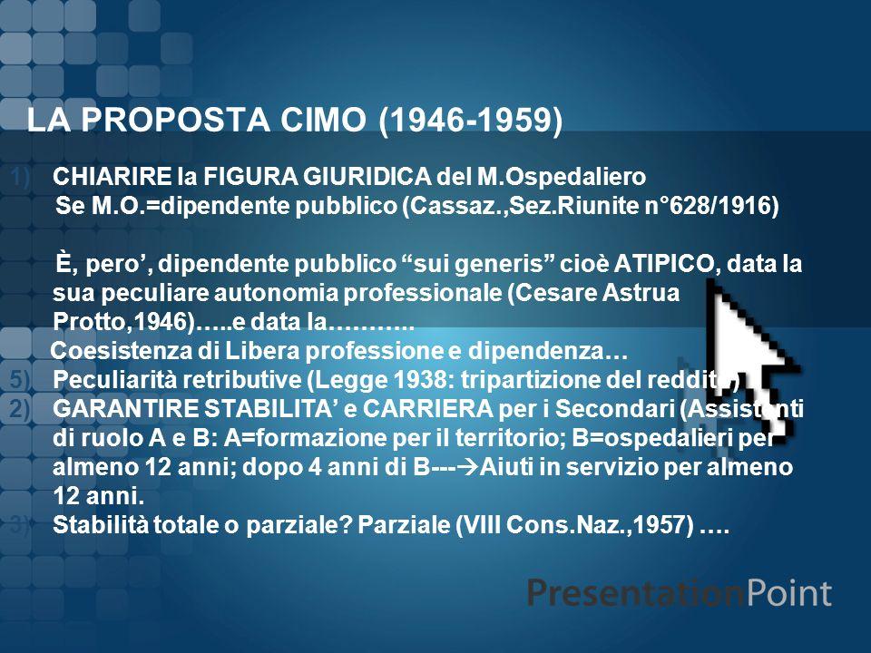 LA PROPOSTA CIMO (1946-1959) CHIARIRE la FIGURA GIURIDICA del M.Ospedaliero. Se M.O.=dipendente pubblico (Cassaz.,Sez.Riunite n°628/1916)