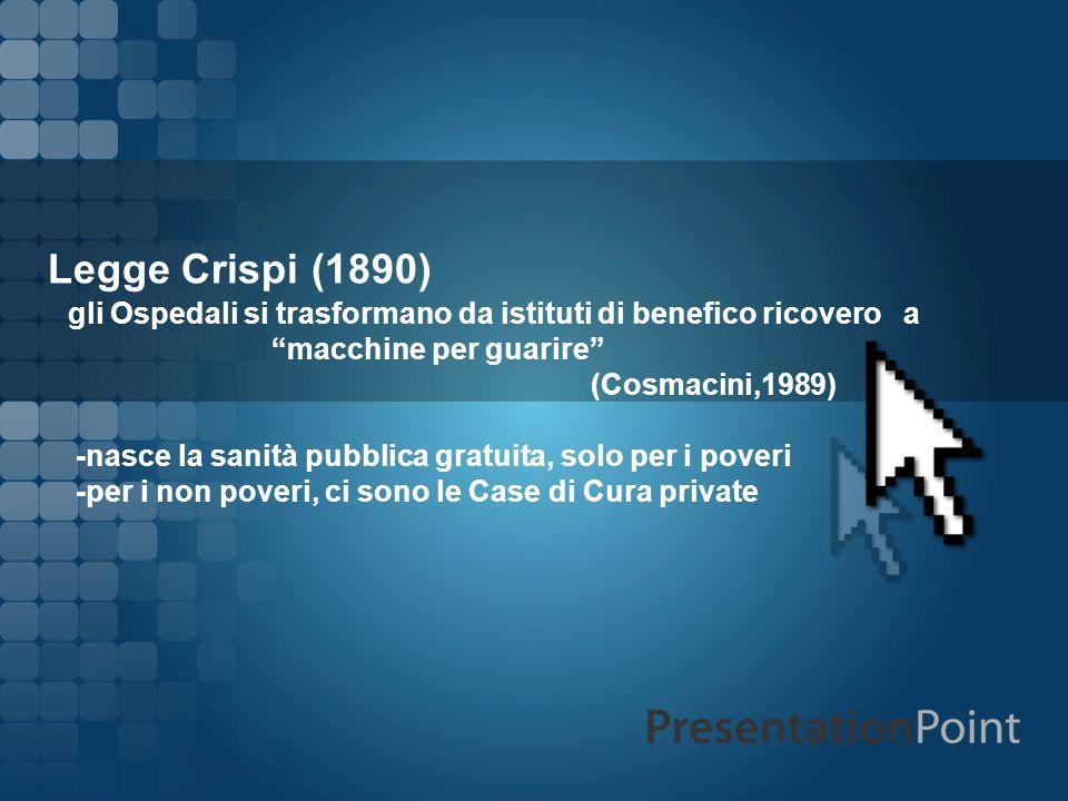 Legge Crispi (1890) gli Ospedali si trasformano da istituti di benefico ricovero a. macchine per guarire