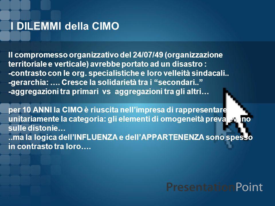 I DILEMMI della CIMO Il compromesso organizzativo del 24/07/49 (organizzazione territoriale e verticale) avrebbe portato ad un disastro :