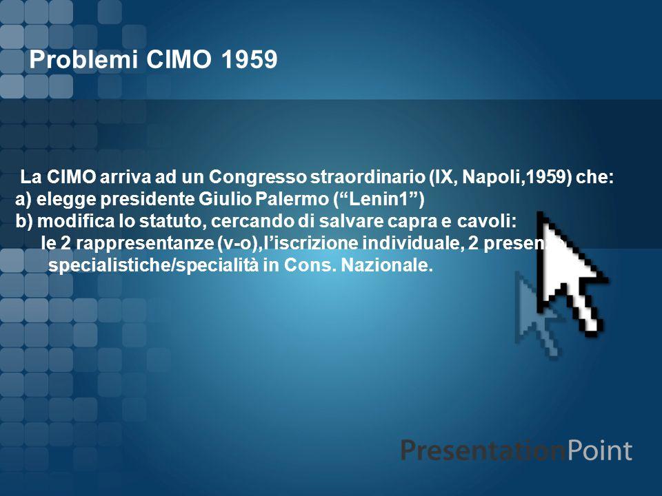 Problemi CIMO 1959 La CIMO arriva ad un Congresso straordinario (IX, Napoli,1959) che: a) elegge presidente Giulio Palermo ( Lenin1 )