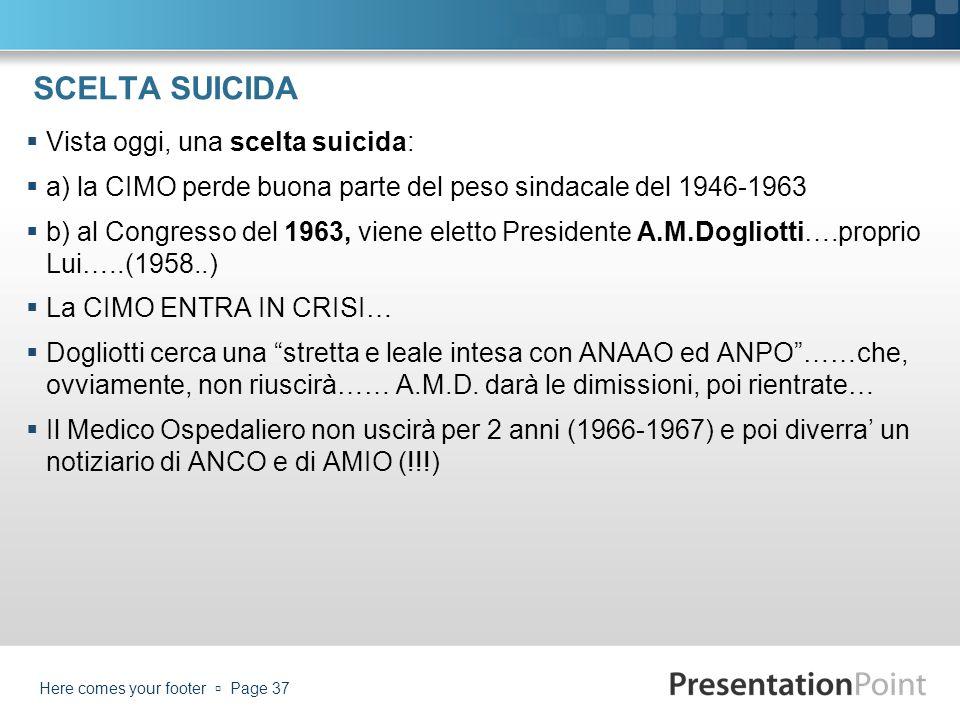 SCELTA SUICIDA Vista oggi, una scelta suicida: