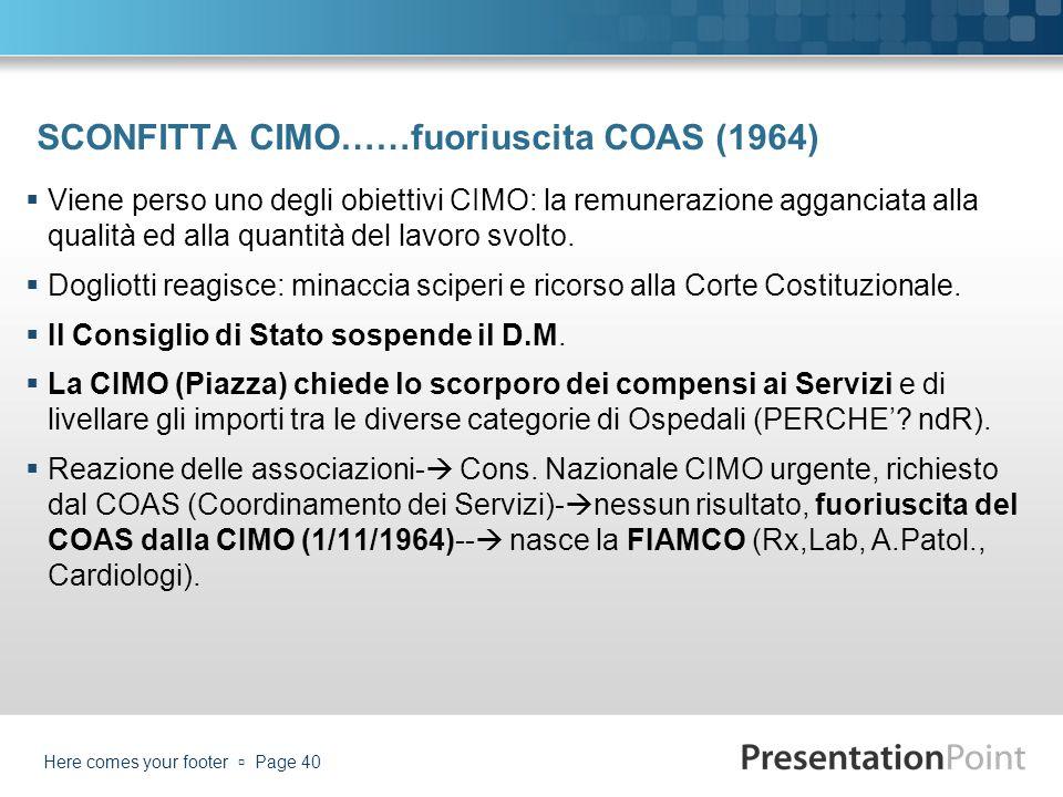 SCONFITTA CIMO……fuoriuscita COAS (1964)