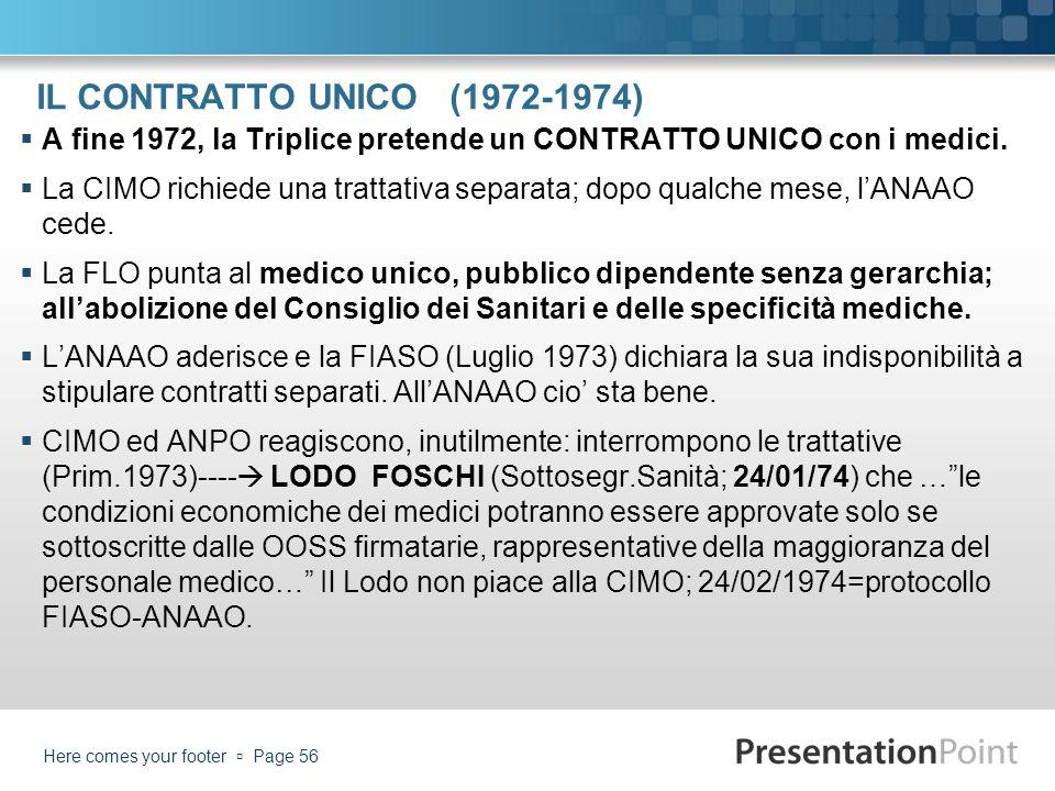 IL CONTRATTO UNICO (1972-1974) A fine 1972, la Triplice pretende un CONTRATTO UNICO con i medici.