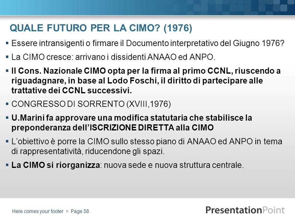 QUALE FUTURO PER LA CIMO (1976)