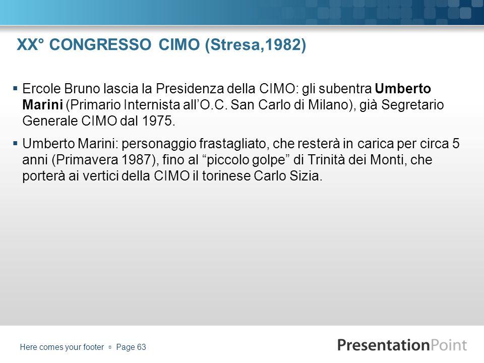 XX° CONGRESSO CIMO (Stresa,1982)