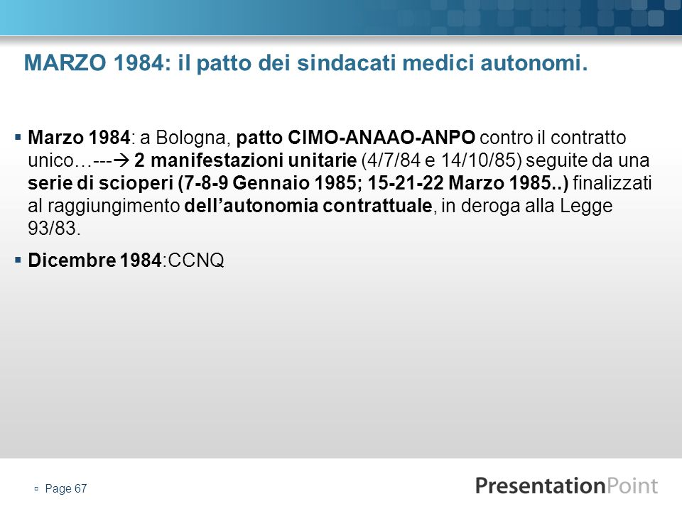 MARZO 1984: il patto dei sindacati medici autonomi.