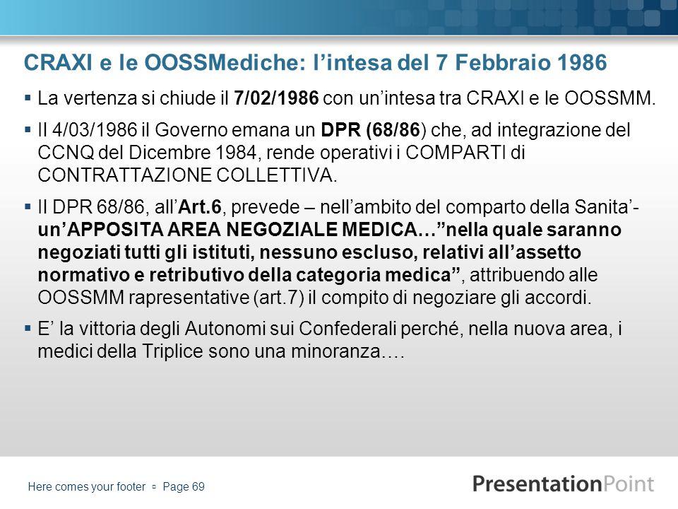 CRAXI e le OOSSMediche: l'intesa del 7 Febbraio 1986