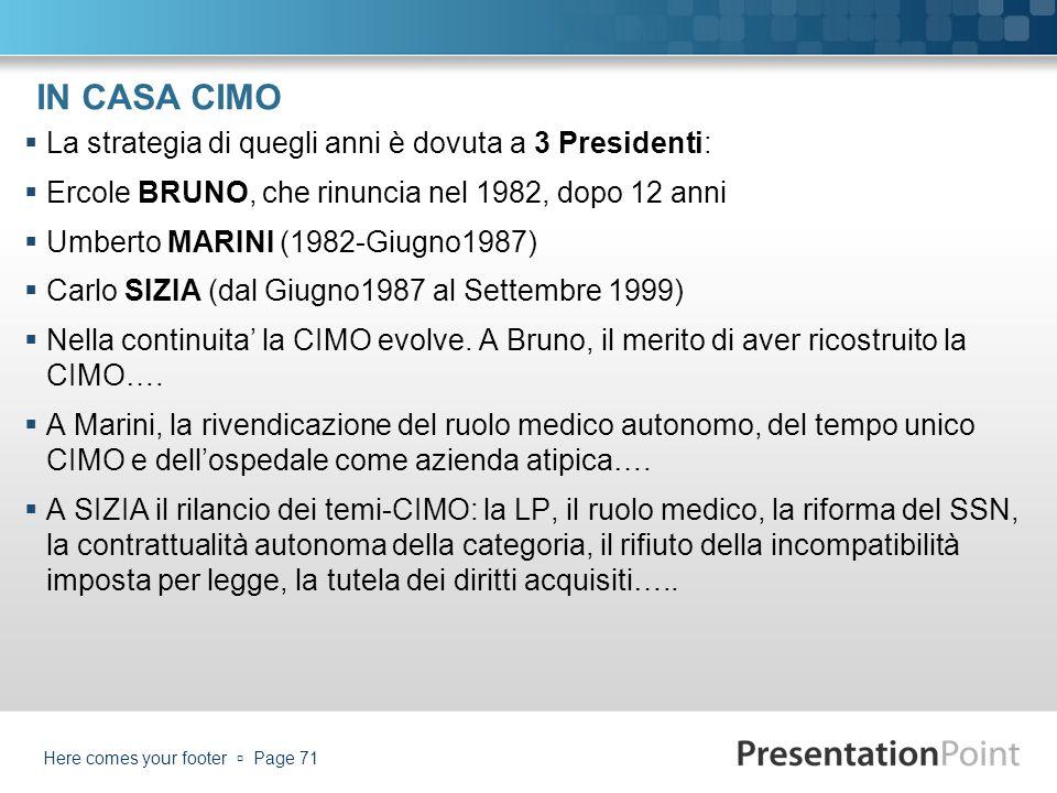 IN CASA CIMO La strategia di quegli anni è dovuta a 3 Presidenti: