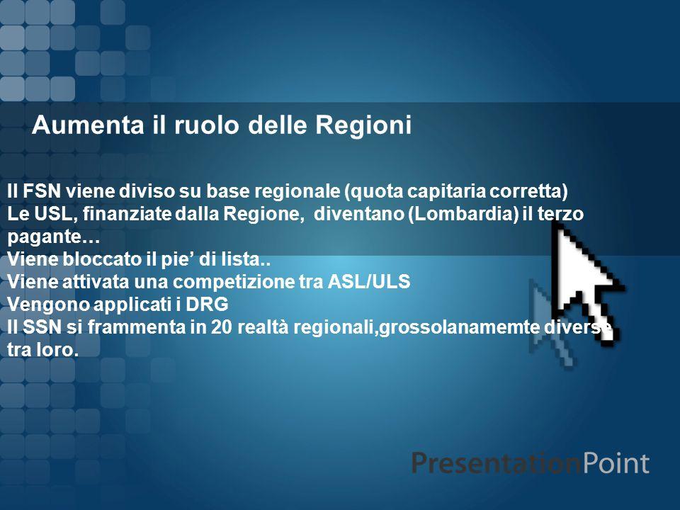 Aumenta il ruolo delle Regioni