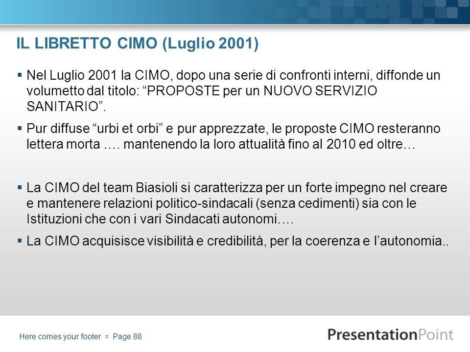 IL LIBRETTO CIMO (Luglio 2001)
