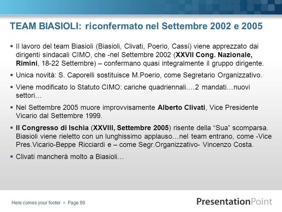TEAM BIASIOLI: riconfermato nel Settembre 2002 e 2005