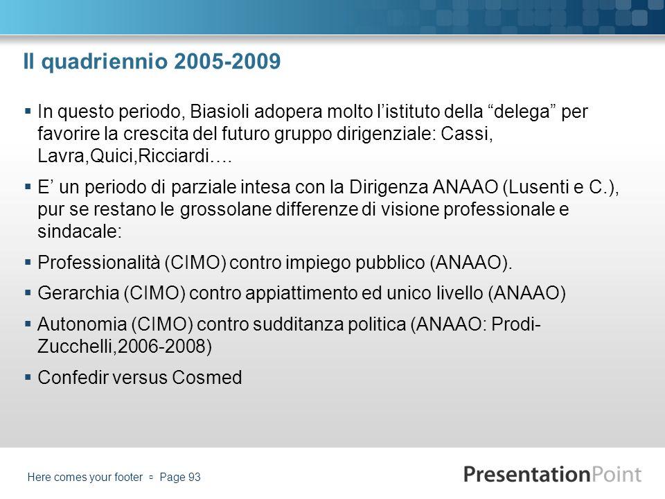 Il quadriennio 2005-2009