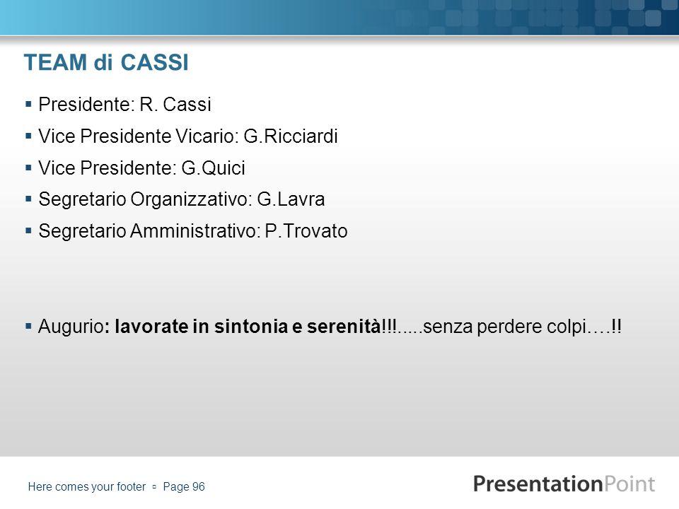 TEAM di CASSI Presidente: R. Cassi