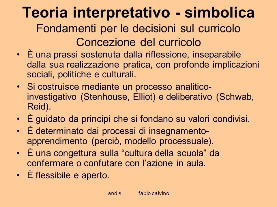 Teoria interpretativo - simbolica Fondamenti per le decisioni sul curricolo Concezione del curricolo