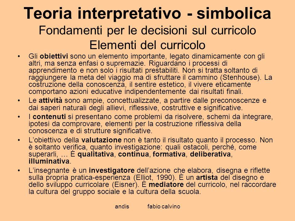 Teoria interpretativo - simbolica Fondamenti per le decisioni sul curricolo Elementi del curricolo