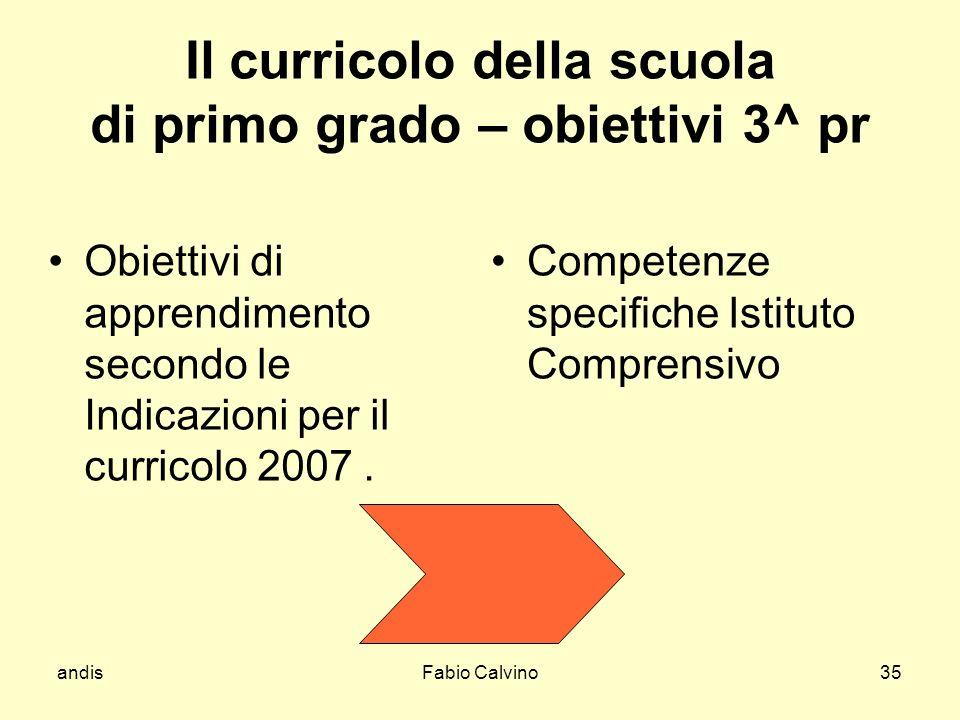 Il curricolo della scuola di primo grado – obiettivi 3^ pr