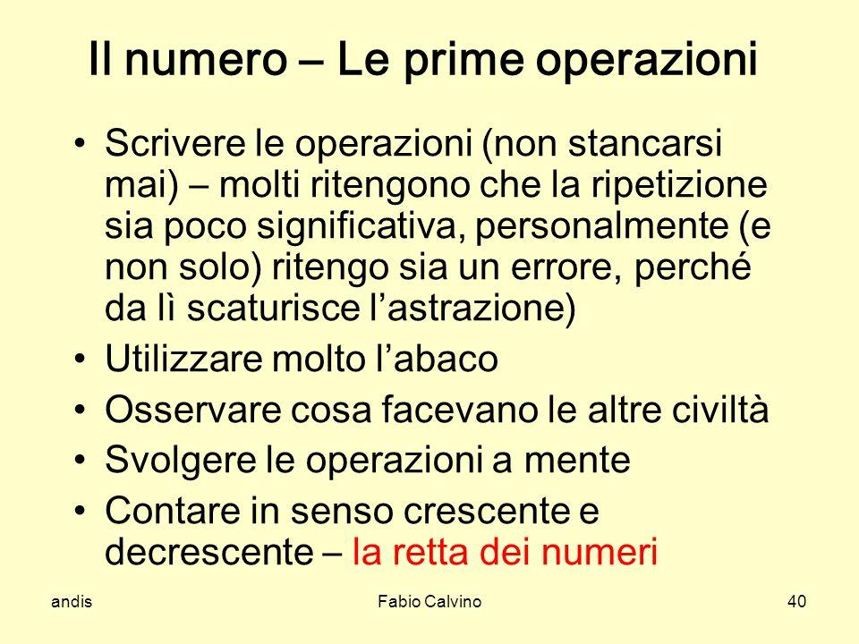 Il numero – Le prime operazioni