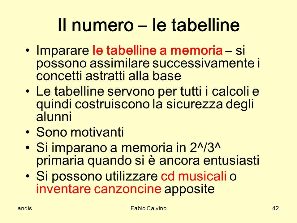 Il numero – le tabelline