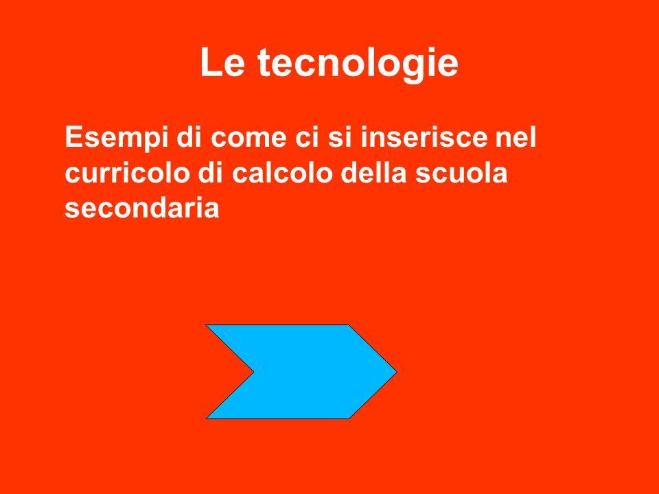 Le tecnologie Esempi di come ci si inserisce nel curricolo di calcolo della scuola secondaria